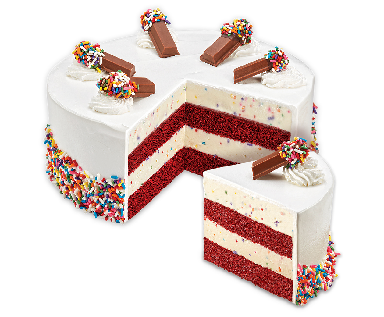 An Ice Cream Cake for Any Occasion! Why buy an Ice Cream Cake? Just imagine thick, moist cake, layered with some of the richest, creamiest ice cream in the world, plus all your favorite mix-ins, and your choice of fluffy white frosting or rich fudge ganache now imagine a cake made from a box mix.