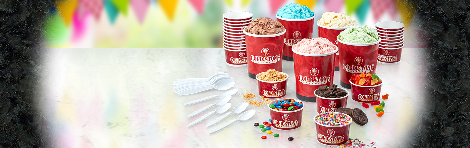 Party Packs with super-premium ice cream, yummy mix-ins, and supplies!