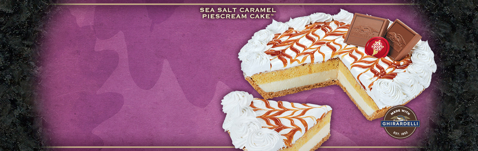 Try our new PieScream Cake™ complete with layers of Graham Creacker Pie crust, Sea Salt Caramel Ice Cream & Yellow Cake.